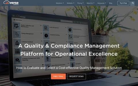 Screenshot of Home Page versesolutions.com - Total Quality Management Software - Verse Solutions - captured March 31, 2016