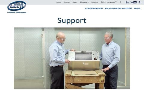 Screenshot of Support Page leerinc.com - Support - Leer - captured Jan. 20, 2017