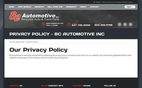 Screenshot of Privacy Page bcautoinc.com - Privacy Policy - BC Automotive Inc - captured Oct. 4, 2018