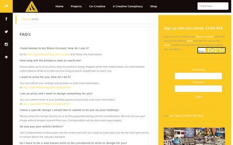 Screenshot of FAQ Page aplombclothing.com - FAQ's | Aplomb & The Creative Conspiracy - captured Oct. 4, 2014