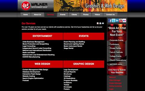 Screenshot of Services Page walkerentertainmentgroup.com captured Oct. 6, 2014