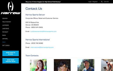 Screenshot of Contact Page harrowsports.com - Contact Us – Harrow Sports - captured July 20, 2019