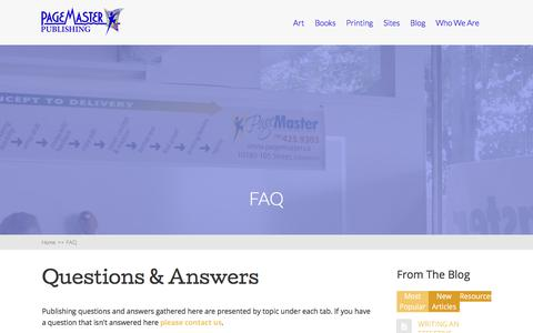 Screenshot of FAQ Page pagemaster.ca - Publishing Questions and Answers | PageMaster.ca - captured Jan. 19, 2018