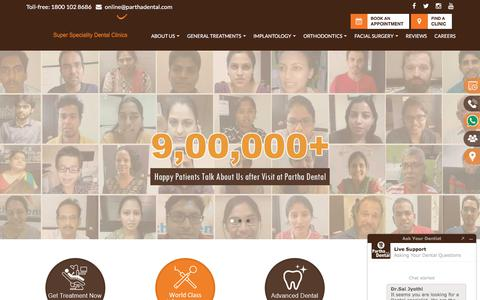 Screenshot of Home Page parthadental.com - Best Dentist and Dental Clinic near You|Largest Dental Hospital chain India - captured July 20, 2019