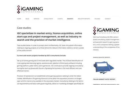 Screenshot of Case Studies Page igamingconsultancy.com - Case Studies: consultants' projects, market entry, licensing, start up - captured Oct. 3, 2014