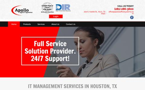 Screenshot of Home Page apolloofficesystems.com - managed services - Alvin, TX - Apollo Office Systems - captured July 30, 2018