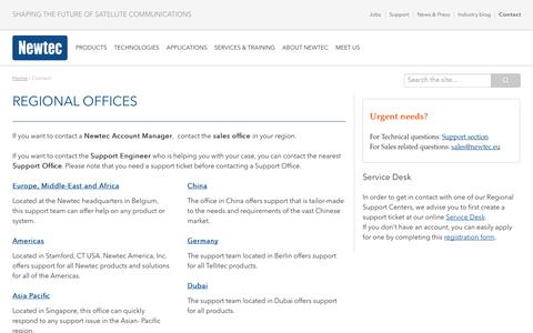 Screenshot of Contact Page newtec.eu - Contact - Newtec - captured Sept. 25, 2014