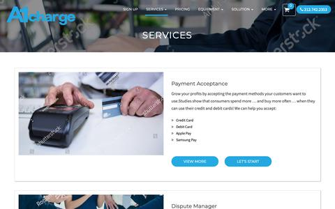 Screenshot of Services Page a1charge.com - Services – A1 Charge Corp - captured Oct. 2, 2018