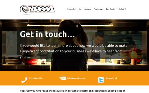 Screenshot of Contact Page zoosch.co.uk - New Contact Us — Zoosch - Bespoke business solutions for hospitality - captured Oct. 27, 2014