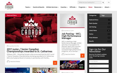 Screenshot of Press Page wrestling.ca - News | Canadian Olympic Style Wrestling | Wrestling Canada Lutte - captured Nov. 30, 2016