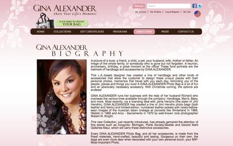 Screenshot of About Page ginaalexander.com - Gina Alexander Photo Handbags - captured Sept. 16, 2014