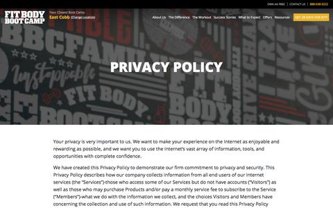 Screenshot of Privacy Page fitbodybootcamp.com - Privacy Policy | Fit Body Boot Camp - captured Nov. 7, 2019