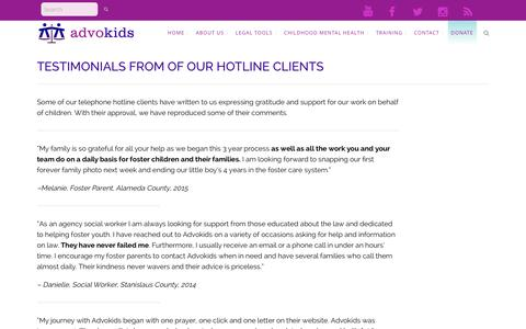 Screenshot of Testimonials Page advokids.org - Advokids: A Legal Resource for California Foster Children and Their Advocates | Advokids: A Legal Resource for California Foster Children and Their Advocates |   Testimonials - captured Dec. 24, 2015