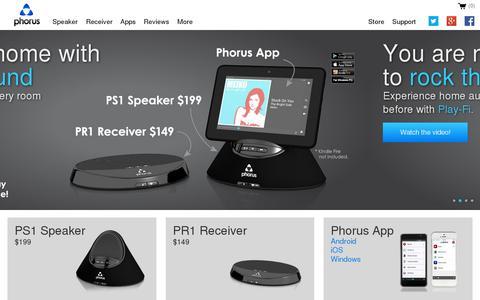 Screenshot of Home Page phorus.com - Wireless Audio - Phorus - captured July 17, 2014