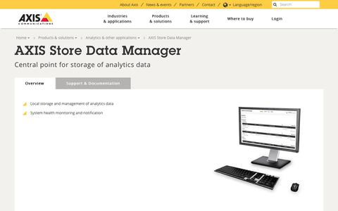 Screenshot of axis.com - AXIS Store Data Manager - Overview | Axis Communications - captured Nov. 17, 2017