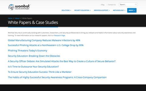Screenshot of Case Studies Page wombatsecurity.com - White Papers and Case Studies | Wombat Security - captured Nov. 5, 2014
