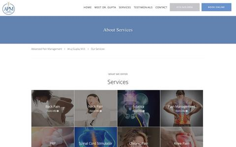 Screenshot of Services Page sdpainmanagement.com - Services - Anuj Gupta, M.D.: Pain Management Physician Vista, CA - captured Jan. 18, 2020