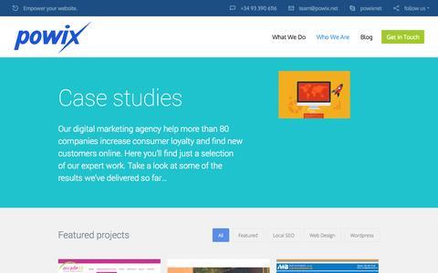 Screenshot of Case Studies Page powix.net - Case Studies - captured Nov. 2, 2014