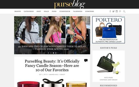 Screenshot of Home Page purseblog.com - PurseBlog - Designer Handbag Reviews and Shopping - captured Oct. 1, 2015