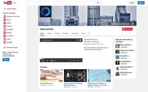 Screenshot of YouTube Page youtube.com - viziononline  - YouTube - captured Nov. 5, 2014