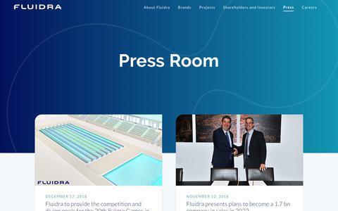 Screenshot of Press Page fluidra.com - Press releases  | Fluidra - captured Feb. 25, 2019