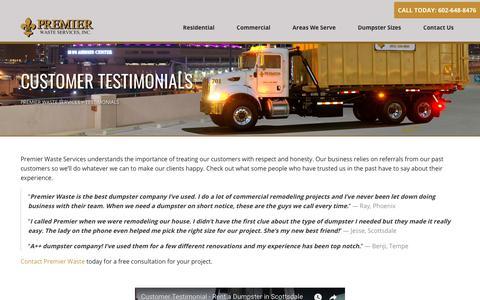 Screenshot of Testimonials Page premierwasteservices.com - Testimonials - Premier Waste Services Premier Waste Services - captured July 21, 2018
