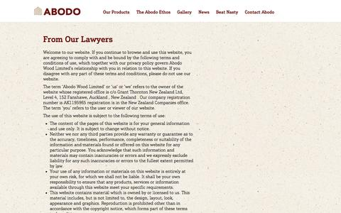Screenshot of Terms Page abodo.co.nz - From Our Lawyers - Abodo - captured Oct. 4, 2014