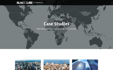 Screenshot of Case Studies Page blackcube.com - Case Studies | Black Cube - captured Oct. 10, 2017