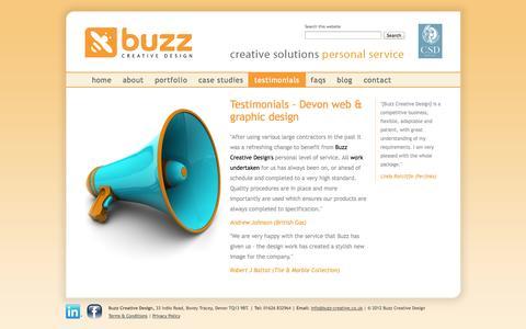 Screenshot of Testimonials Page buzz-creative.co.uk - Testimonials - web design & graphic design Newton Abbot - captured Oct. 5, 2014