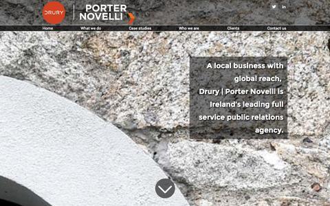 Screenshot of Press Page drurypn.ie - Home | Drury | Porter Novelli - captured Oct. 5, 2014