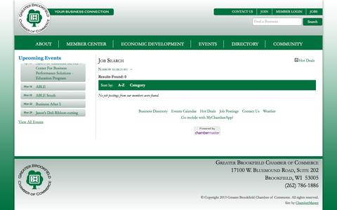 Screenshot of Jobs Page brookfieldchamber.com - Job Search - The Greater Brookfield Chamber of Commerce - captured March 16, 2016