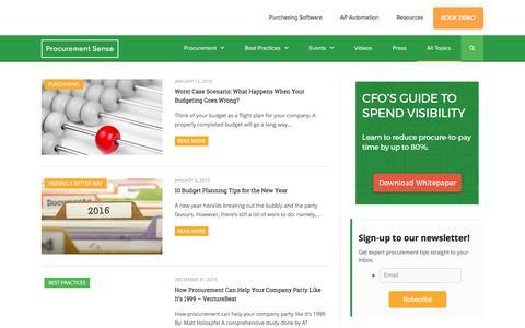 Screenshot of Blog procurify.com - All Topics - Purchasing and Supply Chain Management News - captured Dec. 15, 2016