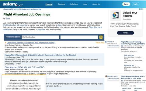Screenshot of Jobs Page salary.com - Flight Attendant Job Openings | Salary.com - captured Oct. 26, 2018
