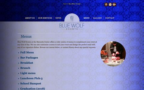 Screenshot of Menu Page bluewolfevent.com - Menus & Specials - Blue Wolf Events - captured Oct. 8, 2017