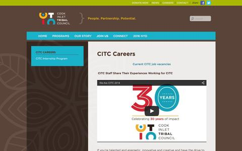 Screenshot of Jobs Page citci.org - CITC Careers | Cook Inlet Tribal Council - captured Jan. 31, 2016