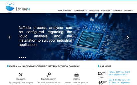 Screenshot of Home Page hemera.fr - Hemera Analyzers | Water & Air Analyzers - captured Jan. 19, 2015