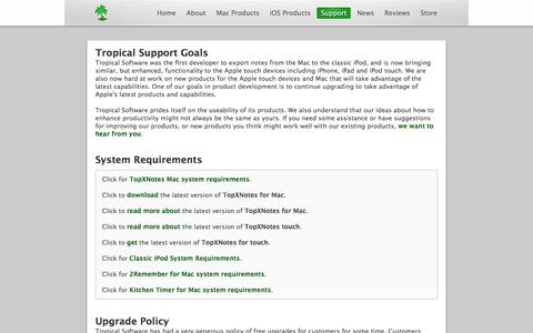 Screenshot of Support Page tropic4.com - Tropical Software Support - captured Feb. 27, 2016