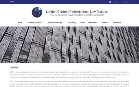 Screenshot of Jobs Page lcilp.org - Join Us - London Centre of International Law Practice | London Centre of International Law Practice - captured Feb. 1, 2016