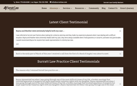 Screenshot of Testimonials Page surrattlaw.com - Testimonials, Family Law Attorneys Reno NV. - captured Feb. 16, 2016