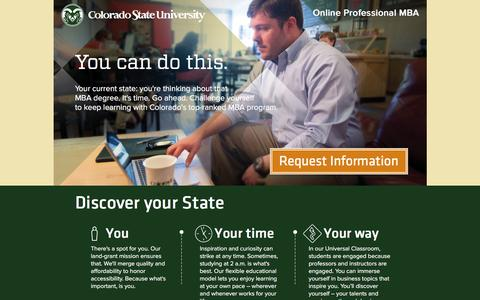 Screenshot of Landing Page colostate.edu - Online Professional MBA - Colorado State University College of Business - Colorado State University - College of Business - captured April 5, 2016