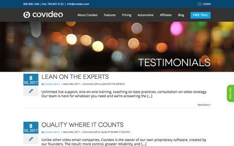Screenshot of Testimonials Page covideo.com - Covideo   –  Testimonials - captured May 5, 2017
