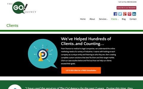 Screenshot of Case Studies Page thegoagencyusa.com - Clients | The Go! Agency - Online Marketing Specialists - captured Jan. 23, 2016