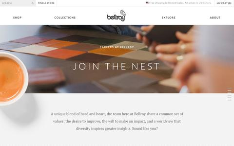 Screenshot of Jobs Page bellroy.com - Bellroy Careers - Slim Leather Wallets by Bellroy - captured June 1, 2016