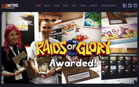 Screenshot of Home Page nitrogames.com - Nitro Games - captured Feb. 23, 2016