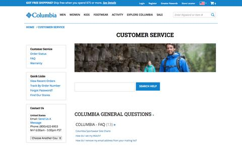 Screenshot of Support Page columbia.com - Sites-Columbia_US-Site - captured Oct. 10, 2014