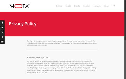 Screenshot of Privacy Page mota.com - Privacy Policy - Mota Group, Inc   United States - captured Sept. 30, 2018