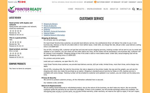 Screenshot of Support Page printerready.com - Customer Service - captured Sept. 29, 2018