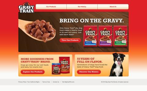 Screenshot of Home Page gravytraindog.com - Gravy Train® Dog Foods - captured April 19, 2016