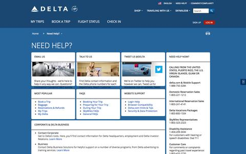 Screenshot of Support Page delta.com - Need Help? : Delta Air Lines - captured Aug. 29, 2016