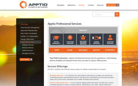 Screenshot of Services Page apptio.com - Our IT Services Team Knows TBM and the Business of IT - captured July 20, 2014